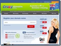 CrazyDomains - 澳大利亚注册商.COM域名首年3澳元